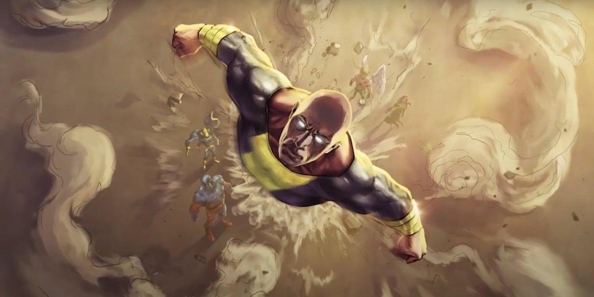 Black Adam flying away from JSA concept art