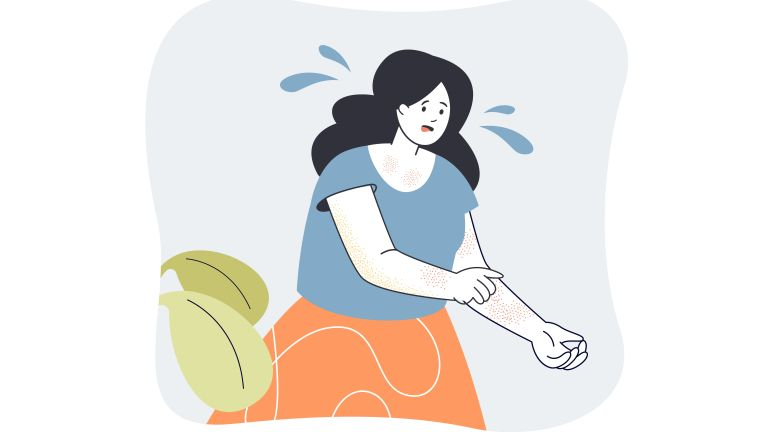 illustration of woman itching arm