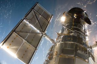 The Hubble Space Telescope, as seen in 2009 during the last space shuttle mission to service it.