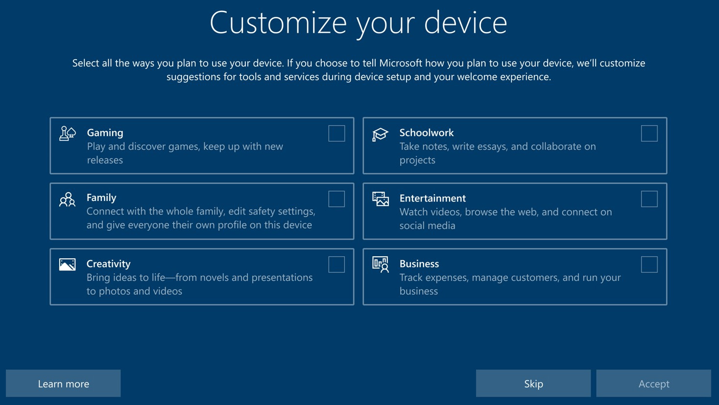 Microsoft is testing a Windows 10 setup screen with 'gaming' as an option