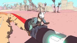 A black jetbike with skull-masked rider tears across the desert.