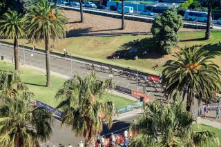 The Ritchie Boulevard circuit from above during the women's event at the 2019 Lexus Blackburn Bay Crits