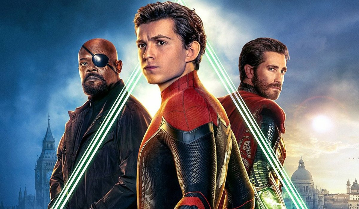 Spider-Man: Far From Home Nick Fury Peter Parker Mysterio all lined up