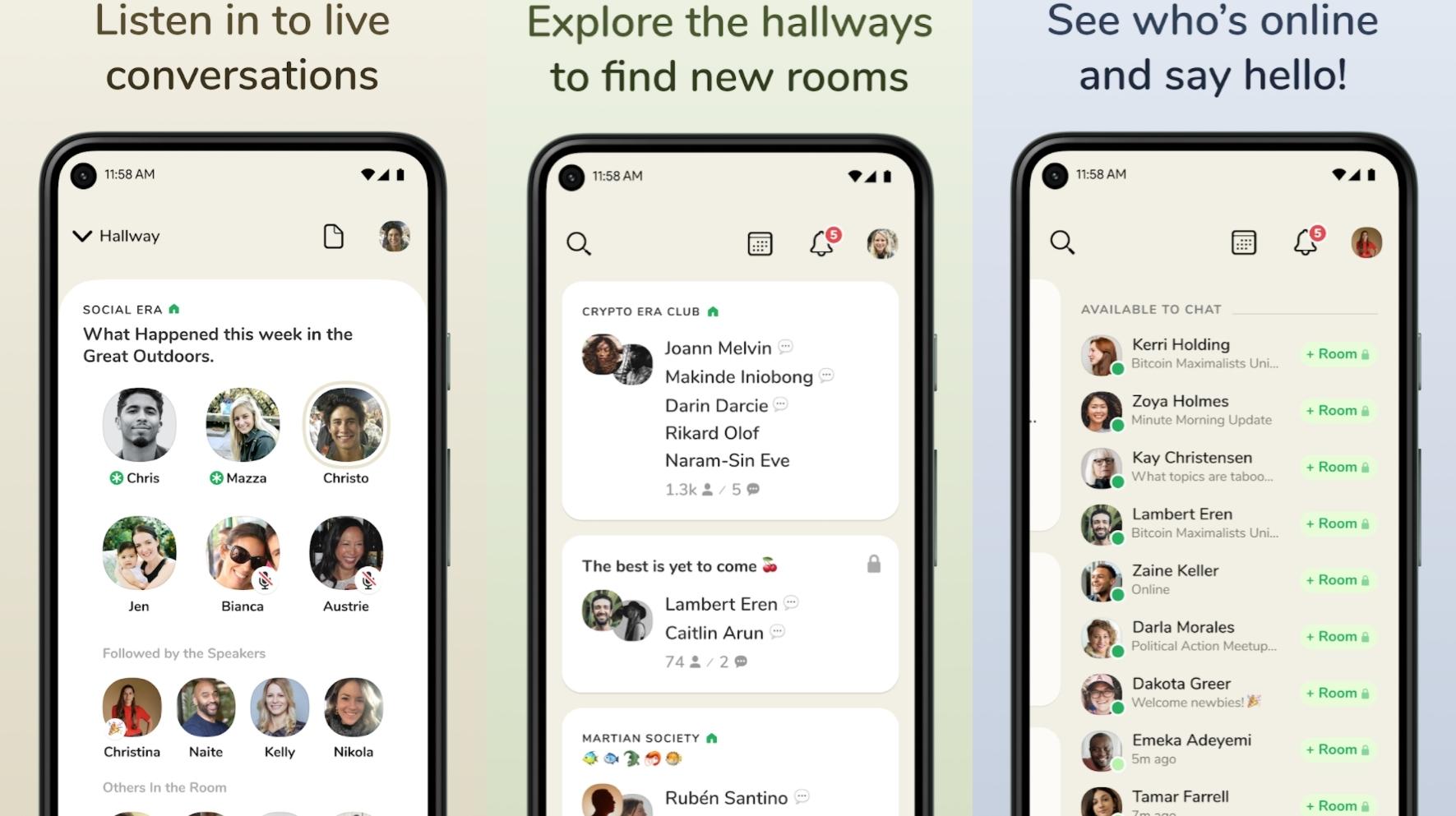 Screenshots showing Clubhouse