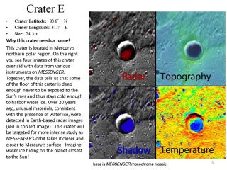 Five Craters on Mercury for Naming
