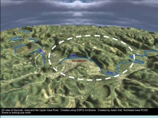 3D rendering of Decorah, Iowa and the location of a buried crater