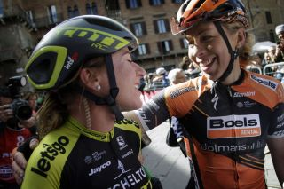 Boels Dolmans' Annika Langvad – right, after taking second place at the 2019 Strade Bianche – congratulates winner Annemiek van Vleuten (Mitchelton-Scott)