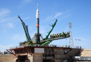 The Soyuz rocket and spacecraft set to launch NASA astronaut Jack Fischer and Russian cosmonaut Fyodor Yurchikhin to the International Space Station on April 20, 2017 is seen at the launchpad at Baikonur Cosmodrome, Kazakhstan.