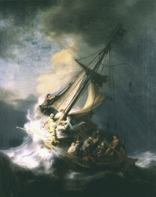 """Rembrandt's only known seascape, called """"The Storm on the Sea of Galilee"""" (1633), was one of the paintings stolen in 1990 from the Gardner museum."""