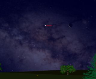This sky map shows the positions of the moon and Venus before sunrise at 6 a.m. EST on Saturday, Jan. 29, 2011 as seen from the U.S. East Coast. February 2011 is the last full month to spot Venus in a completely dark sky until December 2011.