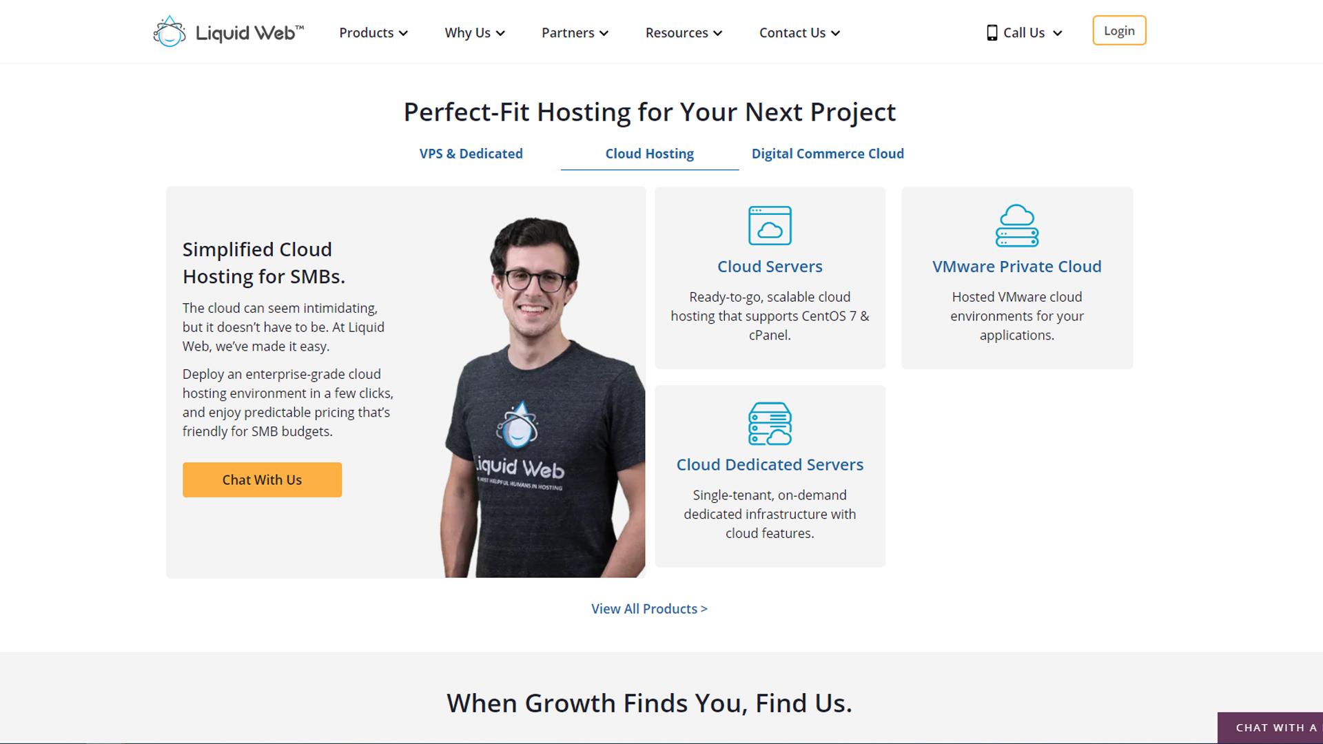 Liquid Web's cloud hosting homepage