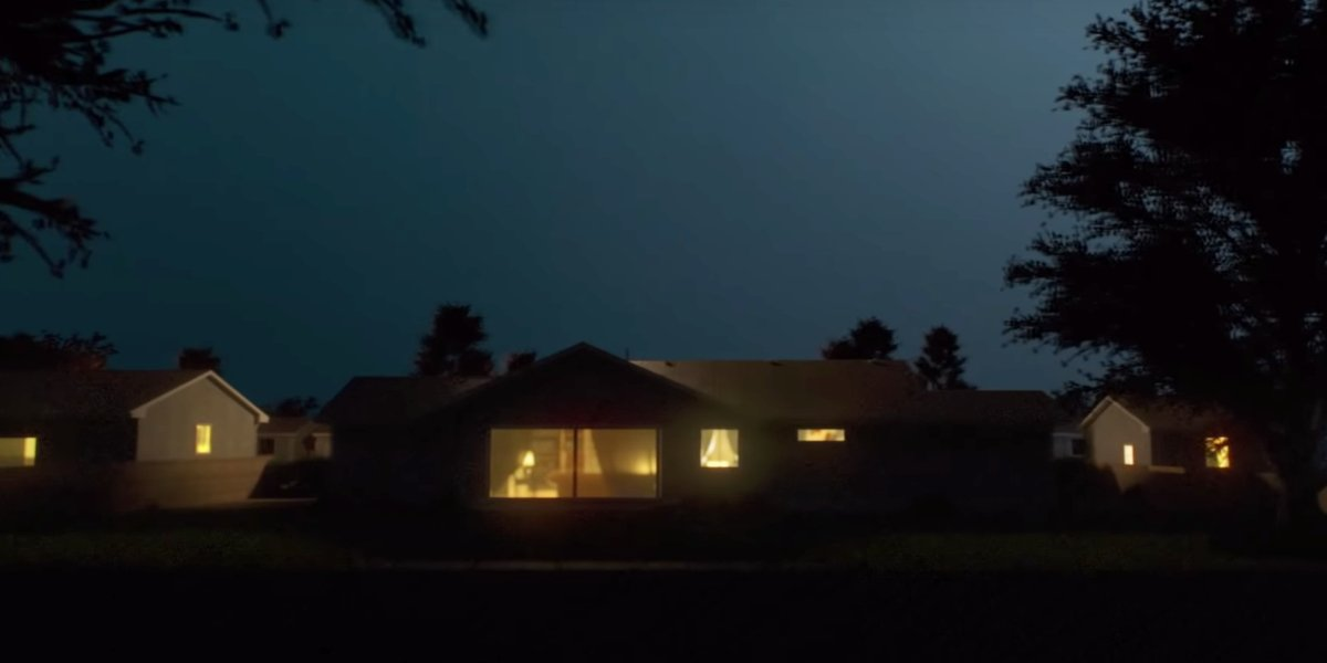 Lit up house in the dark from  I'll Be Gone in the Dark