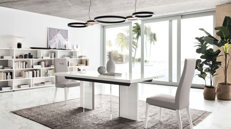 White dining room idea by Fishpools with bookshelves, grey rug and high gloss table