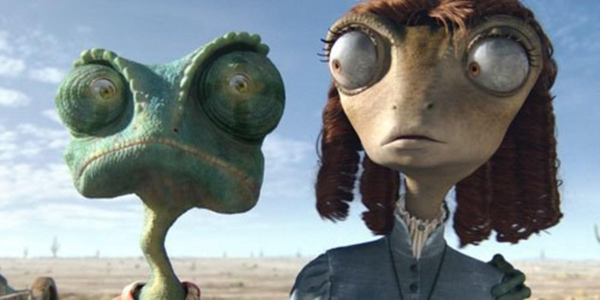 The titular character Rango of Rango next to one of the many people he meets.