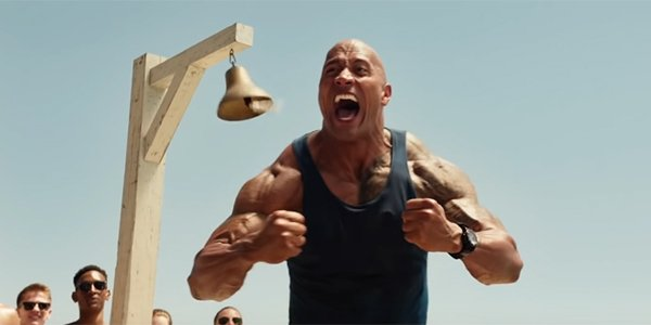The Rock flexing in Baywatch