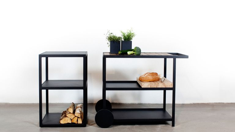 black and wood kitchen trolley by chaplins furniture