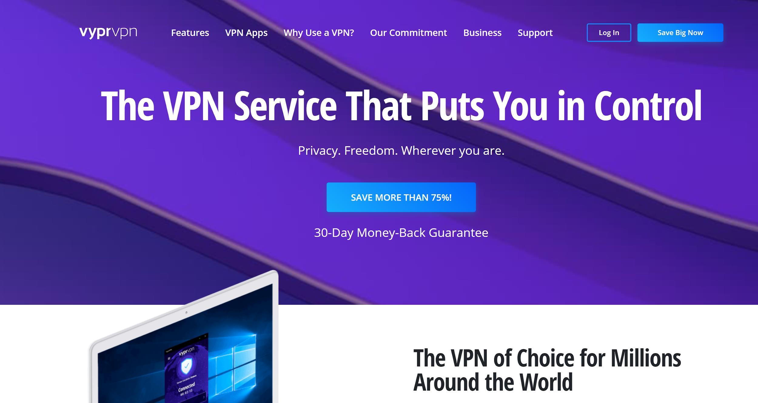 VyprVPN Review - Page d'accueil VyprVPN