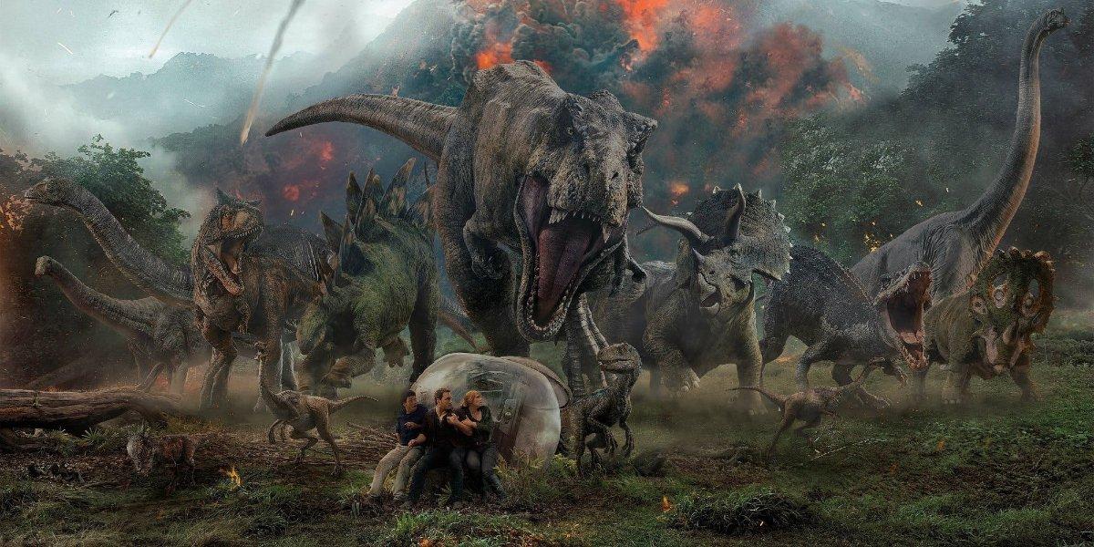 Jurassic World: Fallen Kingdom dinosaur stampede in front of an erupting volcano