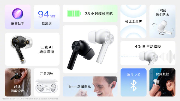 A summary of the OnePlus Buds Z2' features, written in Chinese, including driver size, Bluetooth 5.2, IP55 water/dust resistance, 38 hours maximum battery life, 94ms latency, surround sound support and active noise cancellation.
