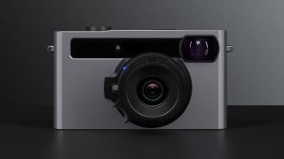 The front of the Pixii camera on a grey background