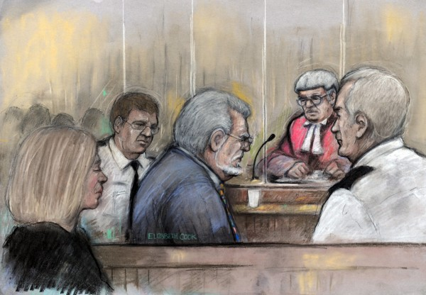 Court drawing by Elizabeth Cook of Rolf Harris in the dock at Southwark Crown in London as he listens to Mr Justice Sweeney sentence him to jail for five years and nine months for a string of sex crimes involving four girls, as his dughter, Bindi, looks on.