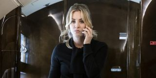 kaley cuoco's cassie on phone in plane in the flight attendant