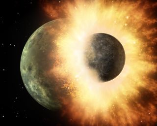 An artist's depiction of a giant impact with the moon.