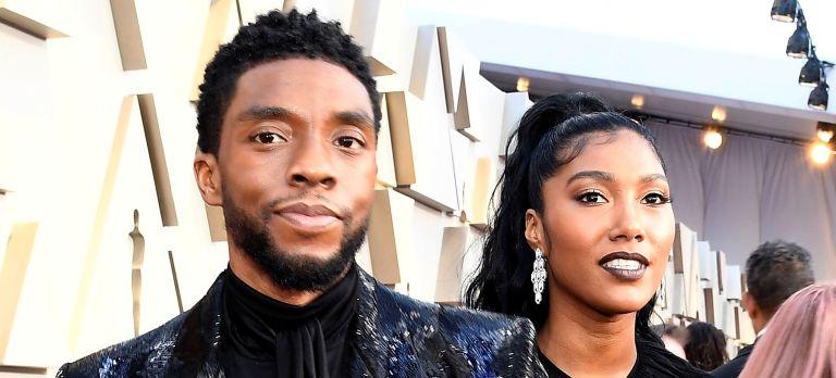 hadwick Boseman and Taylor Simone Ledward attend the 91st Annual Academy Awards