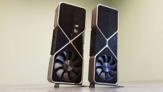 RTX 3090 stood next to an RTX 3080 graphics card