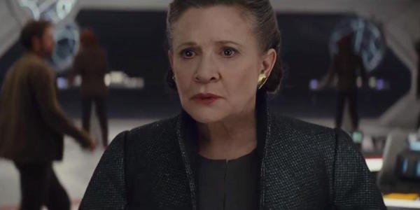 Leia Organa floating in space