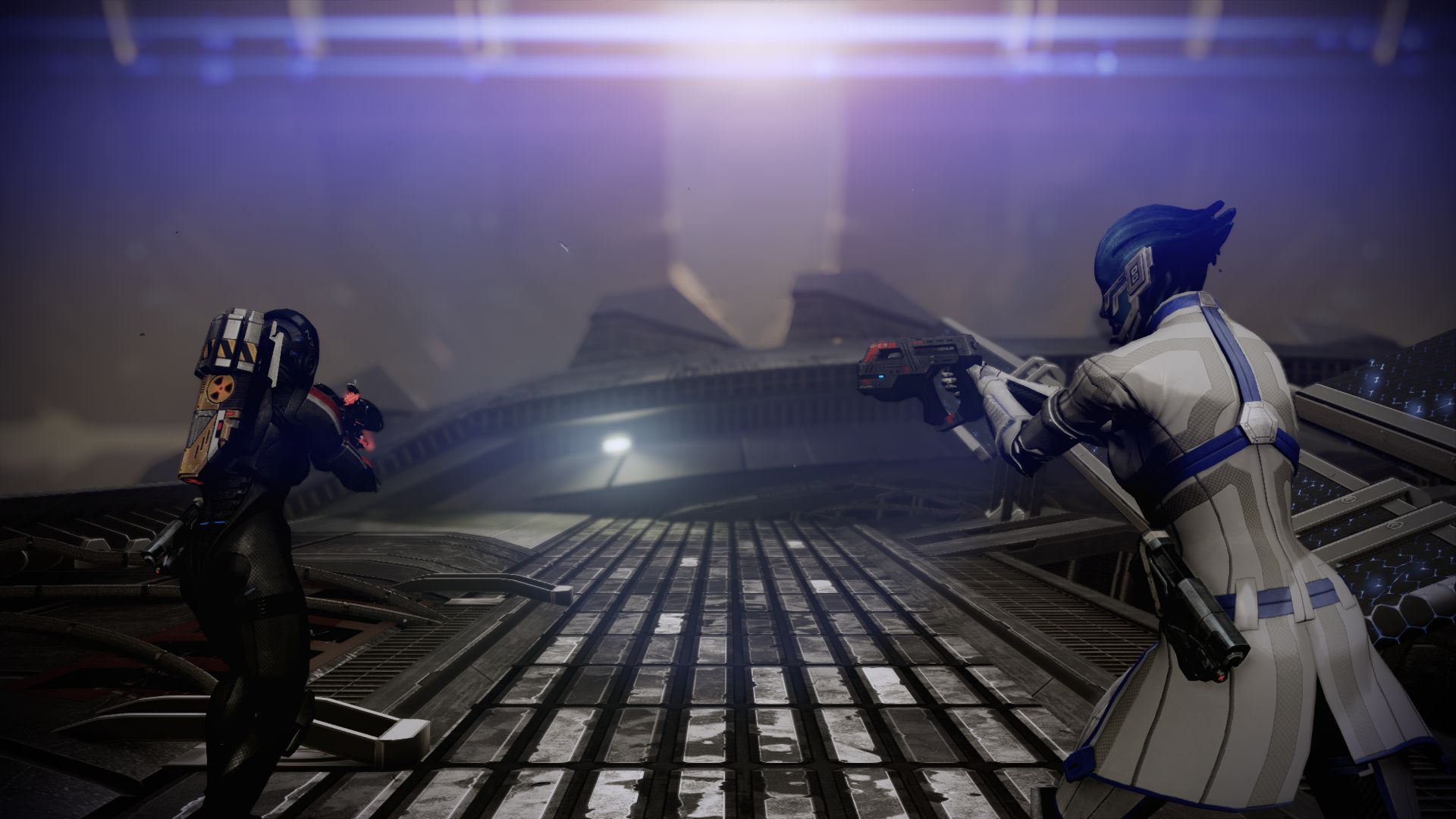 Shepard and Liara in Mass Effect 2's Lair of the Shadow Broker DLC