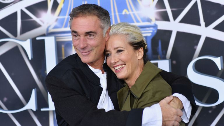 """Emma Thompson (R) and husband British actor Greg Wise attend the premiere of Universal Pictures' """"Last Christmas"""" at AMC Lincoln Square"""