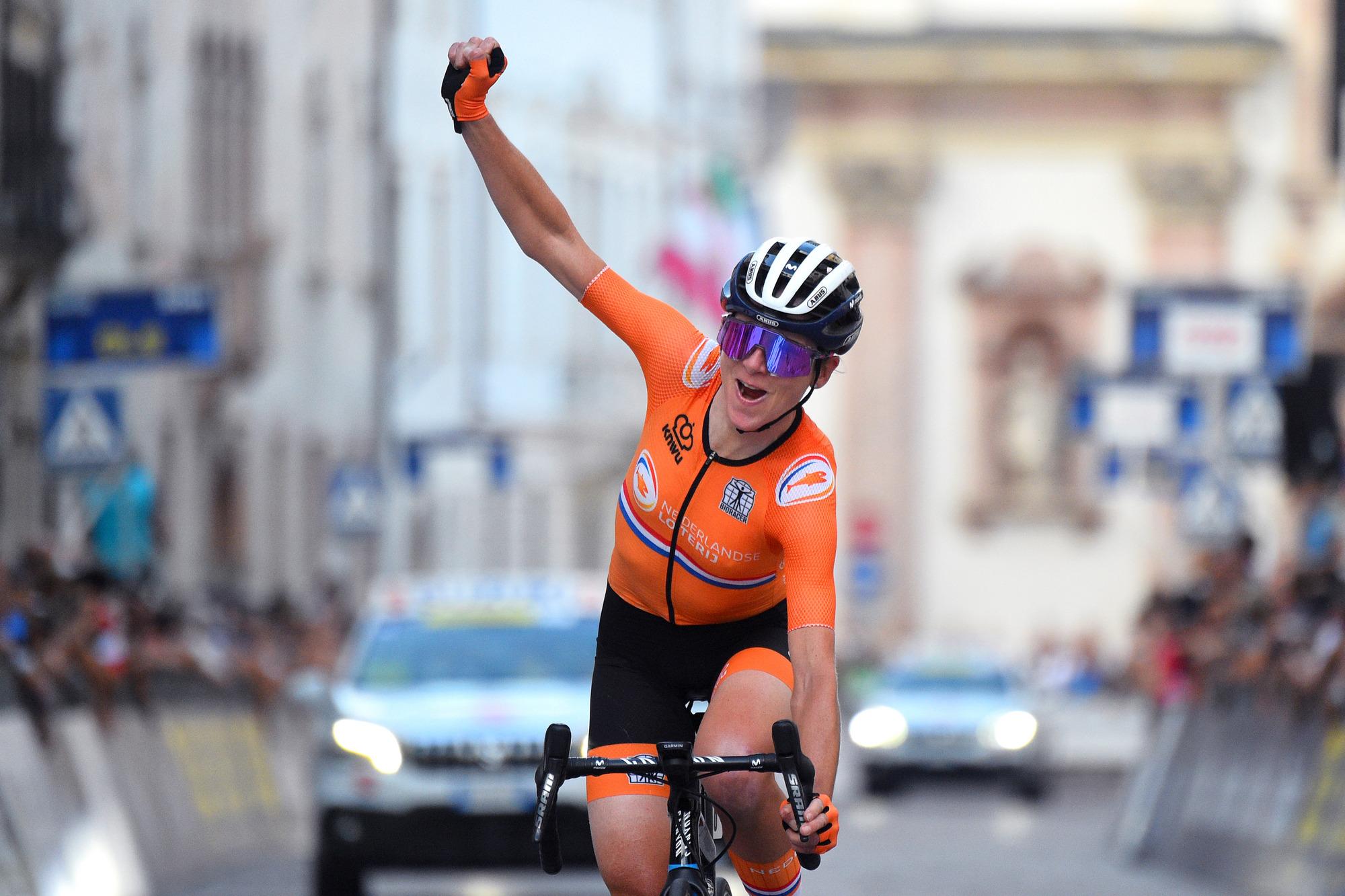 Annemiek van Vleuten celebrated Ellen van Dijk's victory in Trento