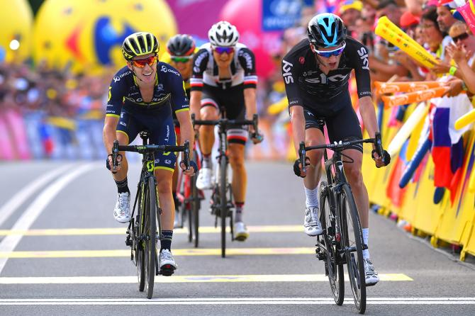 Wout Poels (Sky) beats Adam Yates to the win.