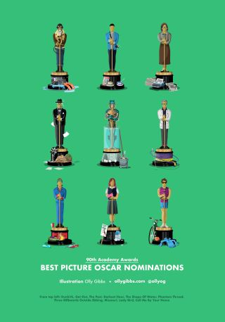 2018 film characters as Oscar statues