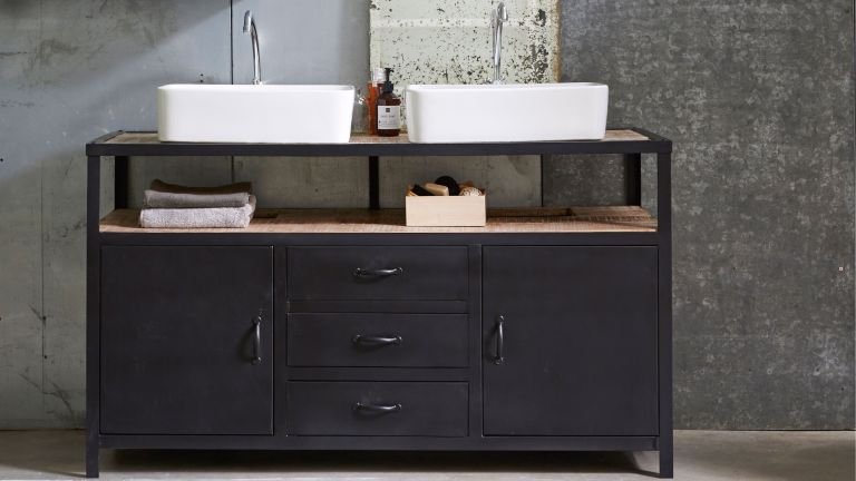 dark finish vanity unit for bathroom with counter top basins