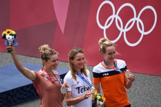 Anna van der Breggen with the bronze medal in the time trial at the Olympic Games