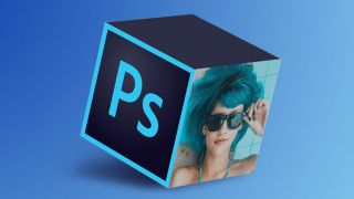 A cube with the Photoshop logo on one face and a woman wearing shades on another