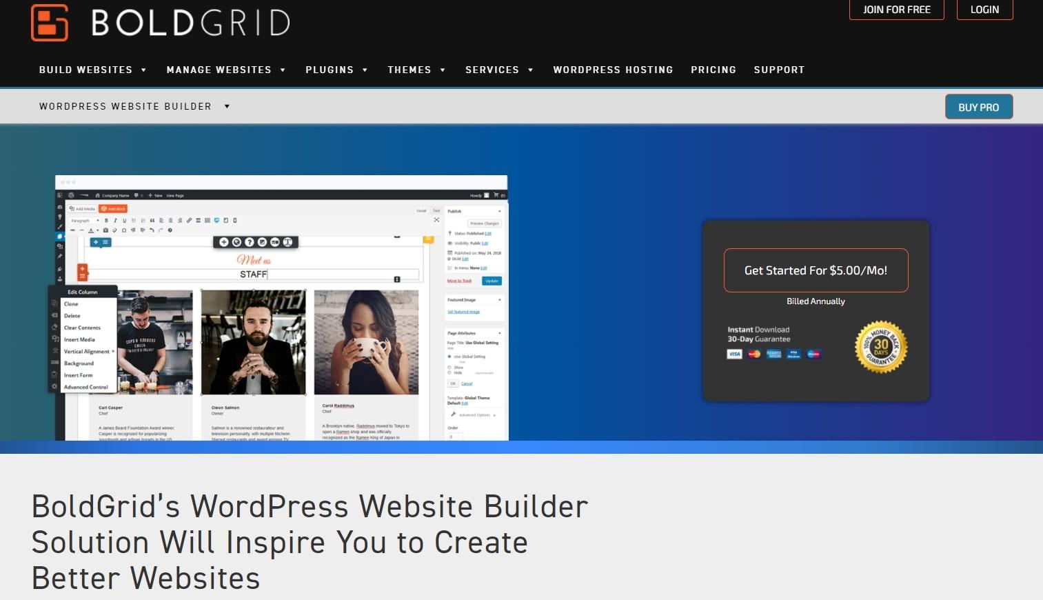Page d'accueil du constructeur de sites Web BoldGrid
