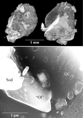 An X-ray tomography image of the whole mineral grain (top) where the quasicrystal was found (shown in a scanning electron micrograph image in the bottom panel).