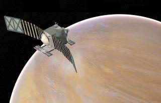 An artist's depiction of the VERITAS mission concept, designed to explore Venus.