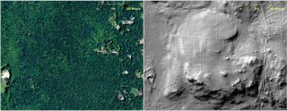Here, an abandoned farmstead in Preston, Conn., is hidden from view in this aerial photograph and only visible in the LiDAR scan of the area from 2010 (right).