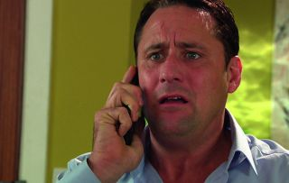 Tony Hutchinson is shocked when Harry Thompson confesses he killed Amy in Hollyoaks.
