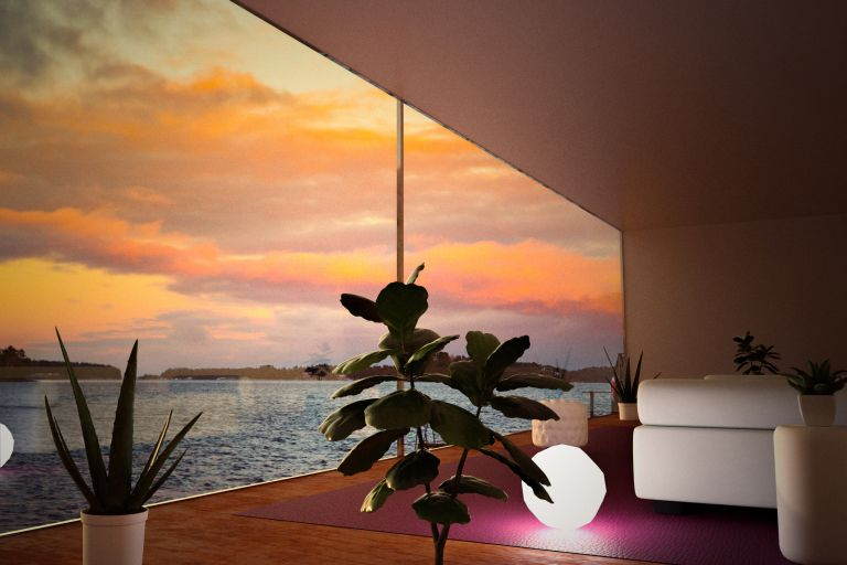 Architecture picture from modern house with big window and stunning views of seascape sunset, lamps