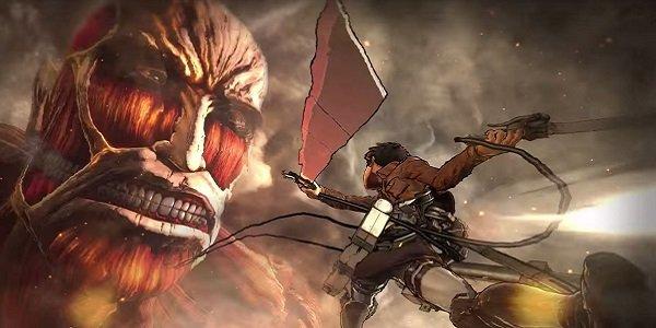 A titan attacks in Attack on Titan