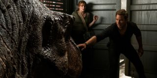 Jurassic World: Fallen Kingdom Claire and Owen facing down a tranquilized T-Rex