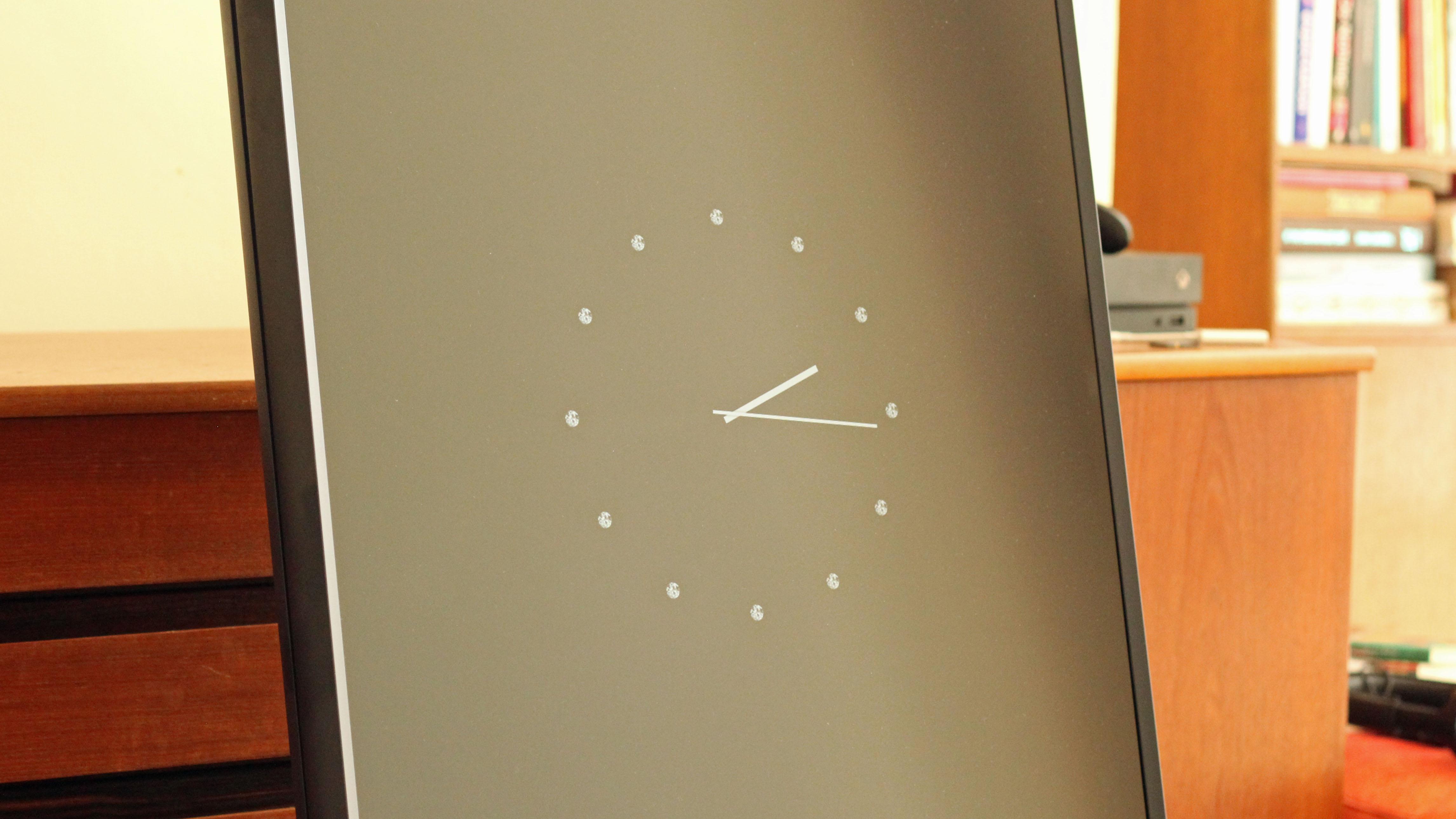 A fancy clock app displayed on the Samsung Sero TV