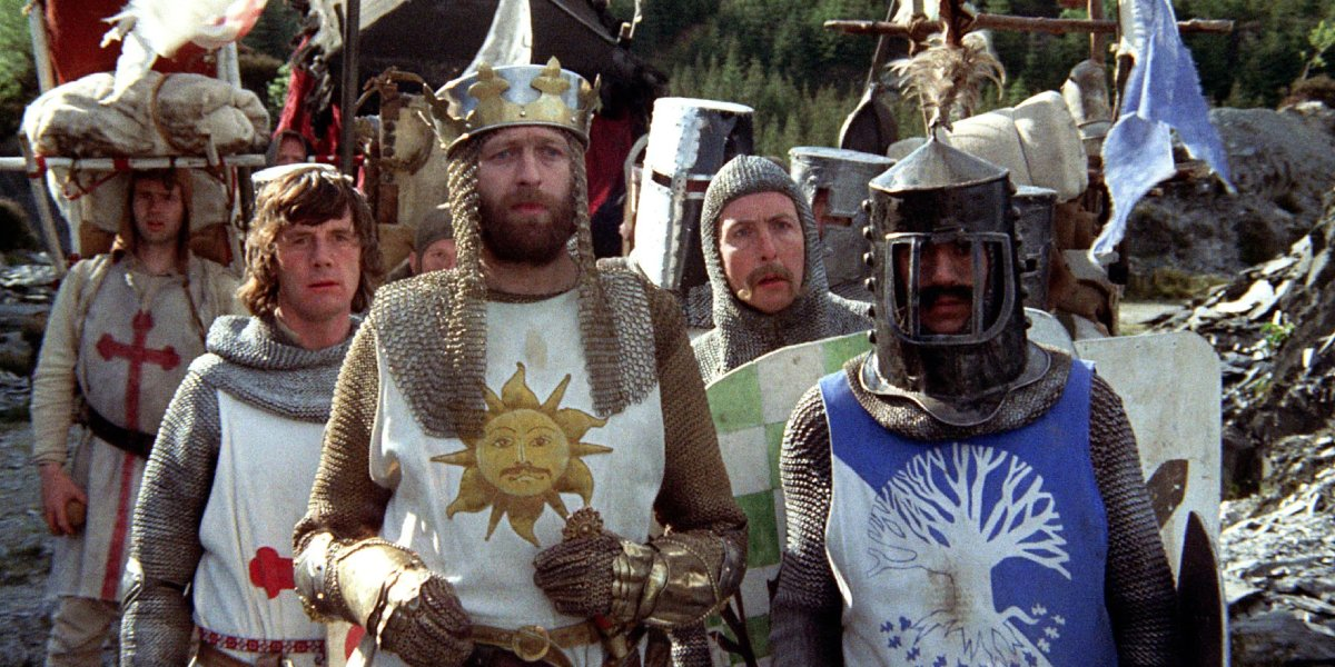 The cast of Monty Python and the Holy Grail
