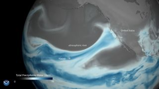 """Atmospheric rivers"" bring plumes of moisture from the tropics to the Western U.S. Above, a visualization of an atmospheric river event from 2018."