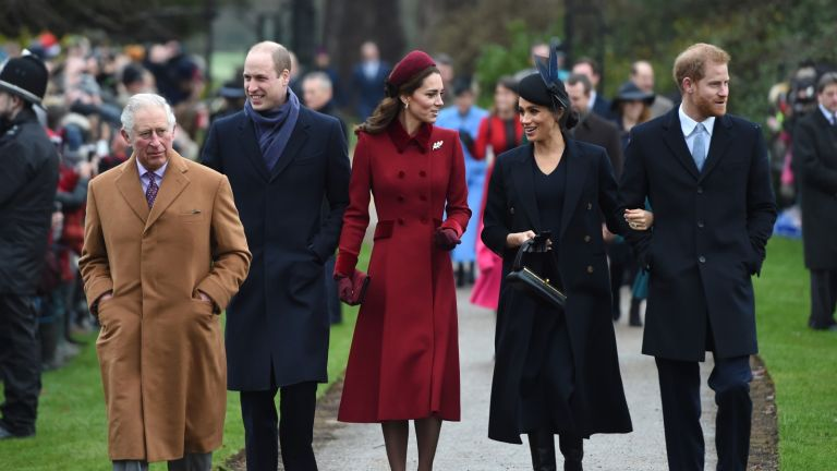 Prince Harry and Meghan with The Prince of Wales, the Duke of Cambridge, and the Duchess of Cambridge, arriving to attend the Christmas Day morning church service at St Mary Magdalene Church in Sandringham, Norfolk.